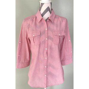 EDDIE BAUER Pink Button Front Cotton Blouse Top